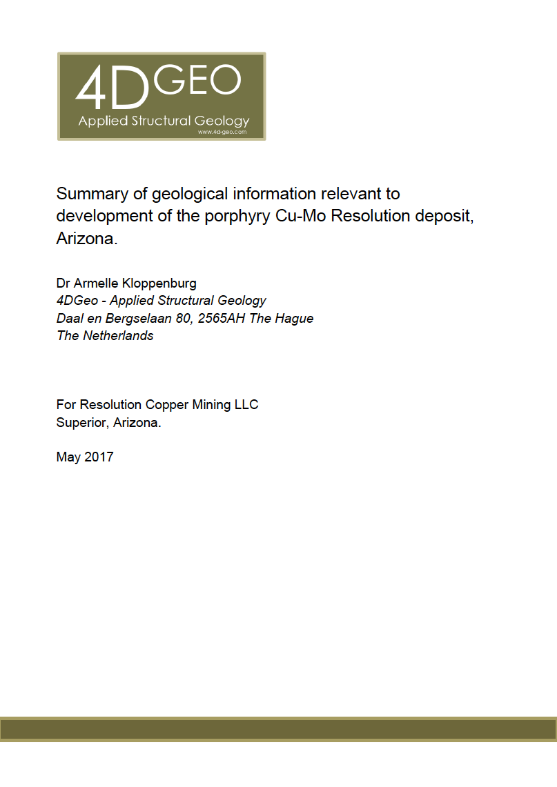 Thumbnail image of document cover: Summary of Geological Information Relevant to Development of the Porphyry Cu-Mo Resolution Deposit, Arizona