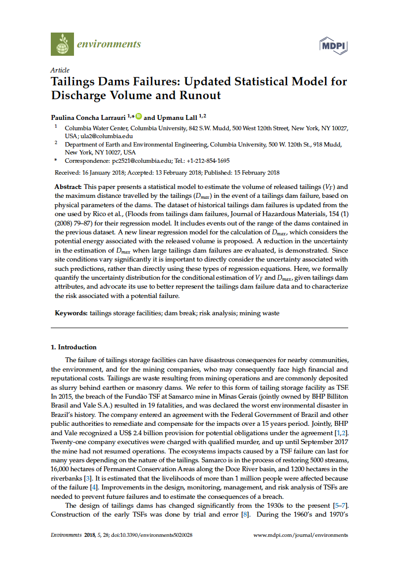Thumbnail image of document cover: Tailings Dam Failures: Updated Statistical Model for Discharge Volume and Runout