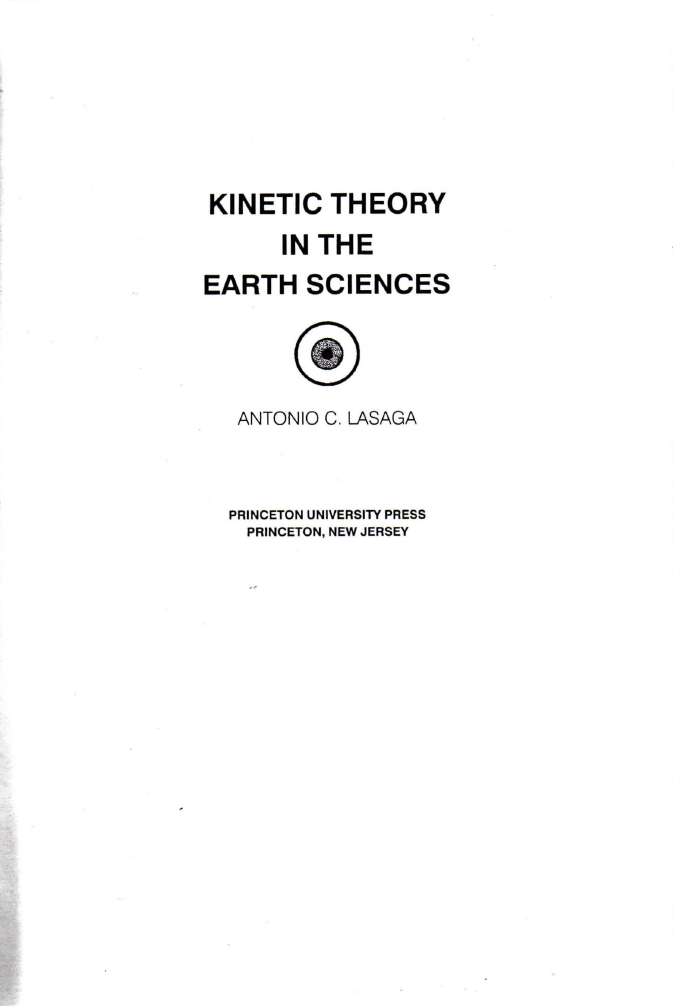 Thumbnail image of document cover: Kinetic Theory in the Earth Sciences