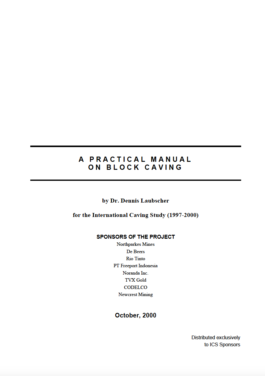 Thumbnail image of document cover: A Practical Manual on Block Caving