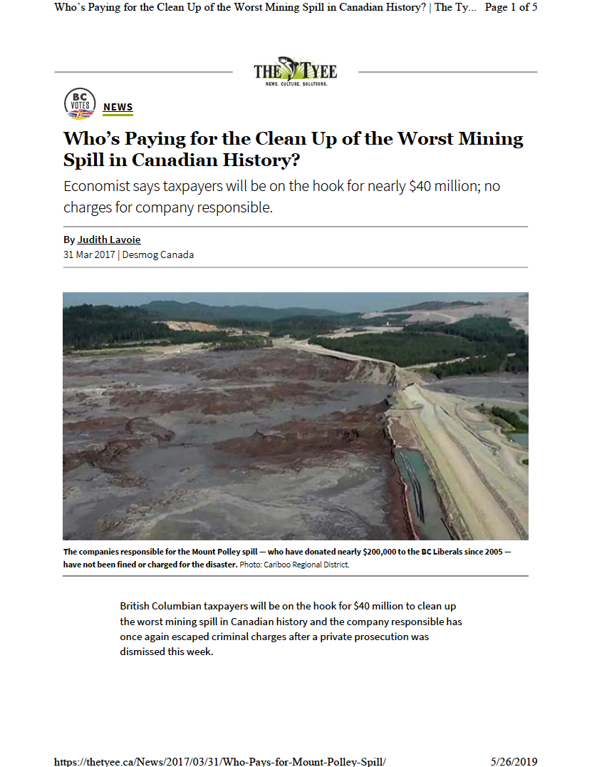Thumbnail image of document cover: Who's Paying for the Clean Up of the Worst Mining Spill in Canadian History?