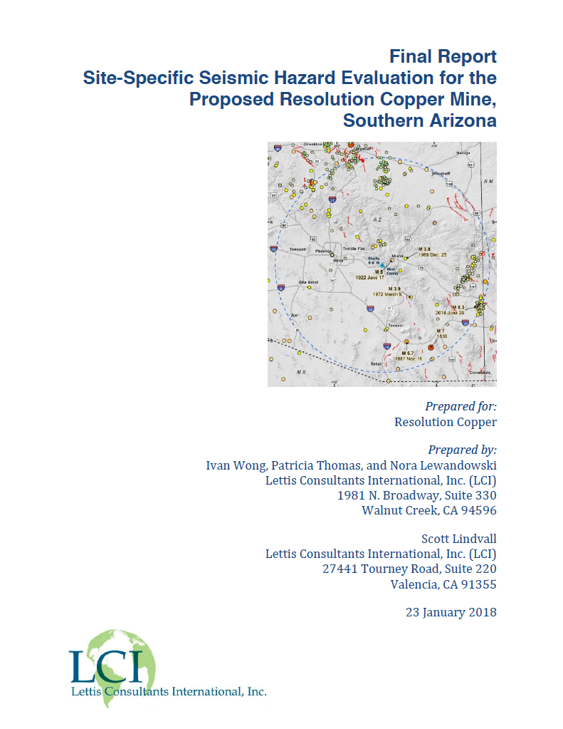 Thumbnail image of document cover: Site-Specific Seismic Hazard Evaluation for the Proposed Resolution Copper Mine, Southern Arizona