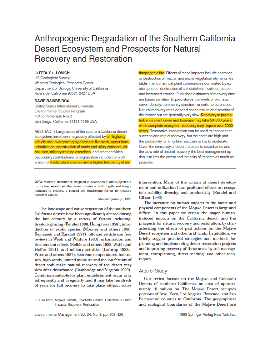 Thumbnail image of document cover: Anthropogenic Degradation of the Southern California Desert Ecosystem and Prospects for Natural Recovery and Restoration