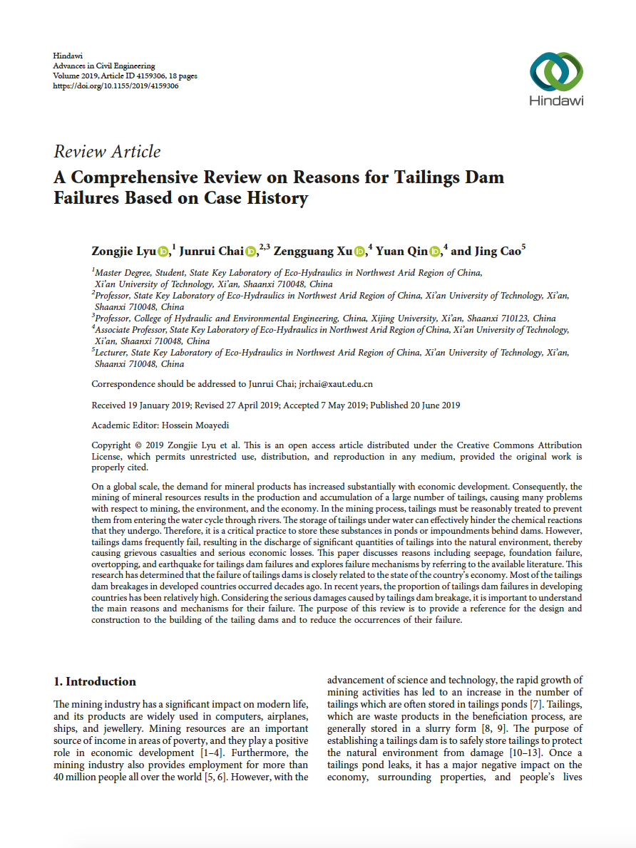 Thumbnail image of document cover: A Comprehensive Review on Reasons for Tailings Dam Failures Based on Case History