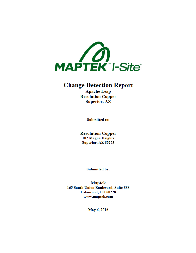 Thumbnail image of document cover: Change Detection Report: Apache Leap, Resolution Copper, Superior, AZ