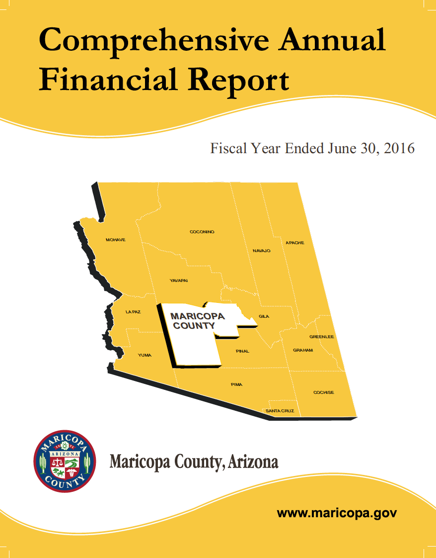 Thumbnail image of document cover: Comprehensive Annual Financial Report, Maricopa County, Arizona: Fiscal Year Ended June 30, 2016