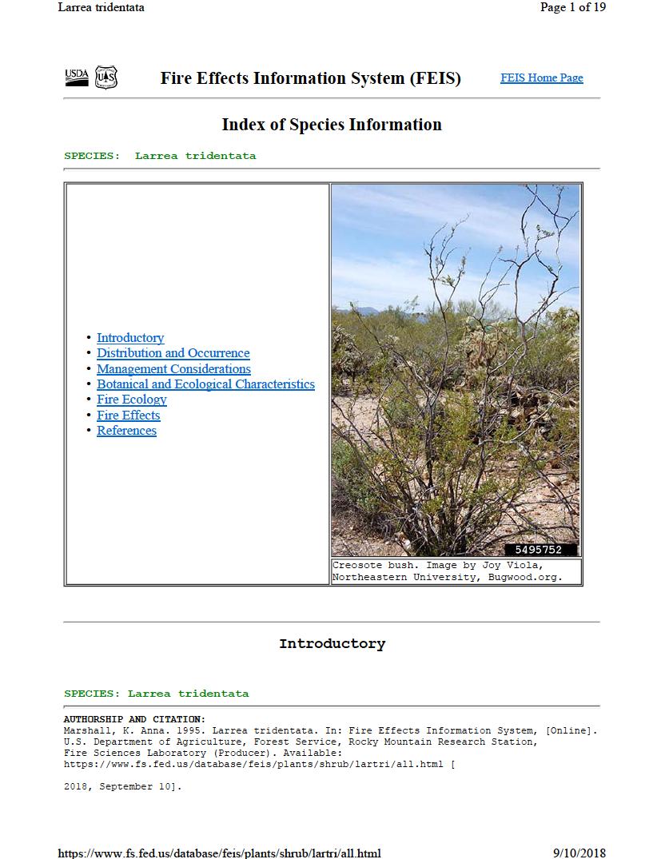 Thumbnail image of document cover: Larrea tridentata