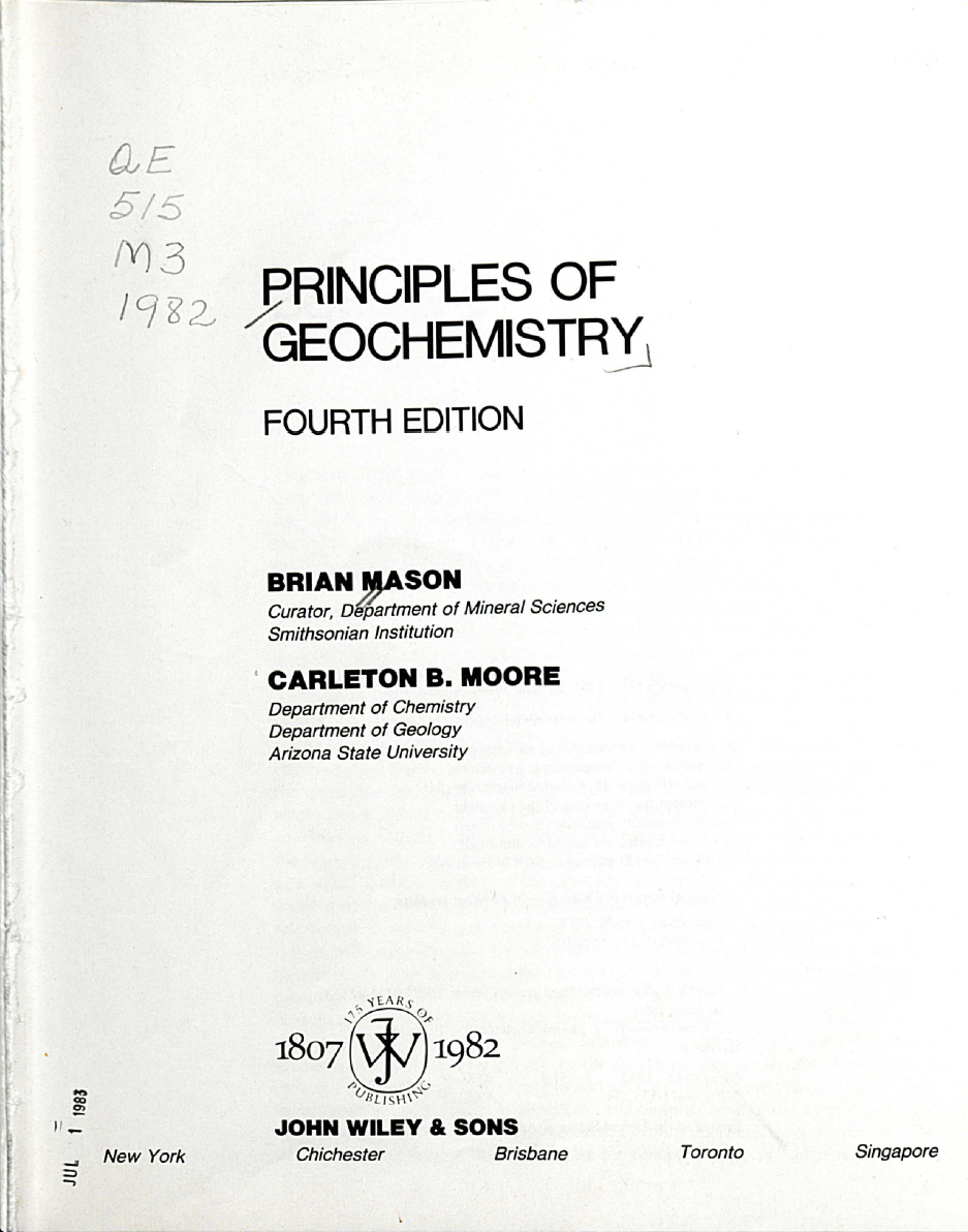 Thumbnail image of document cover: Principles of Geochemistry