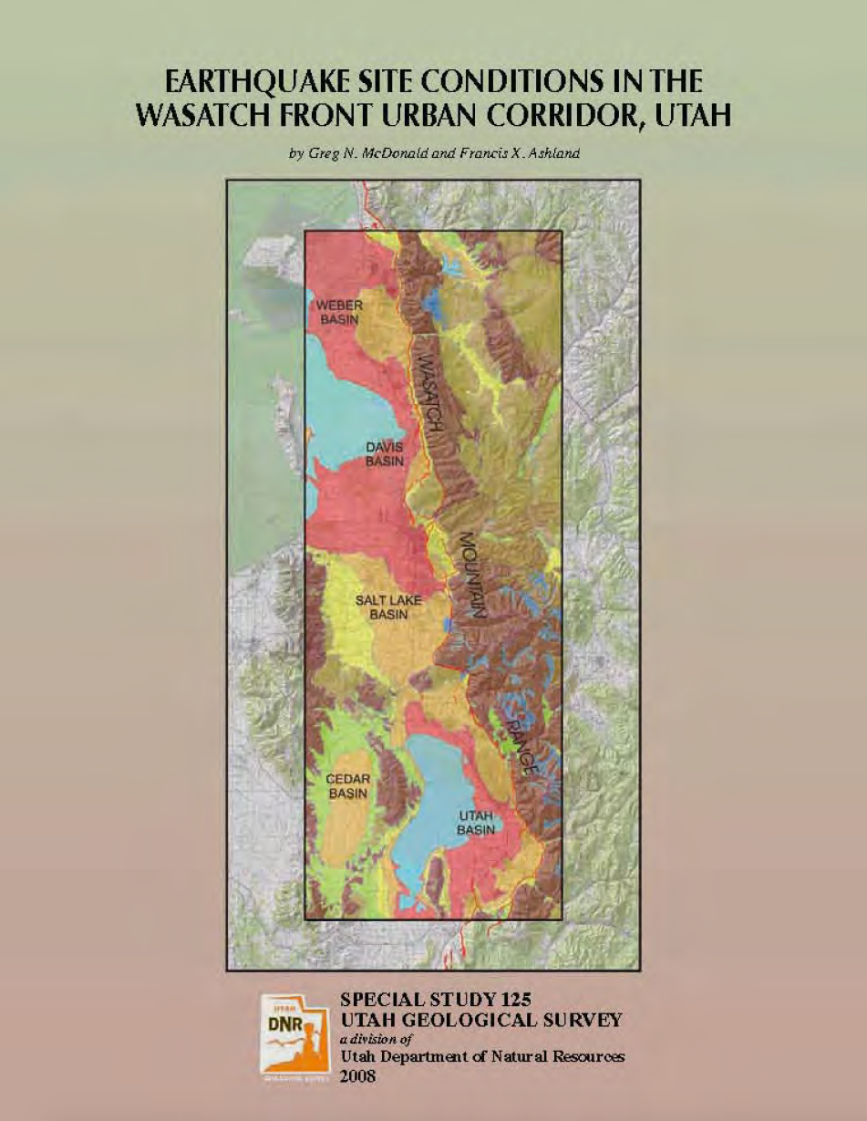 Thumbnail image of document cover: Earthquake Site Conditions in the Wasatch Front Urban Corridor, Utah