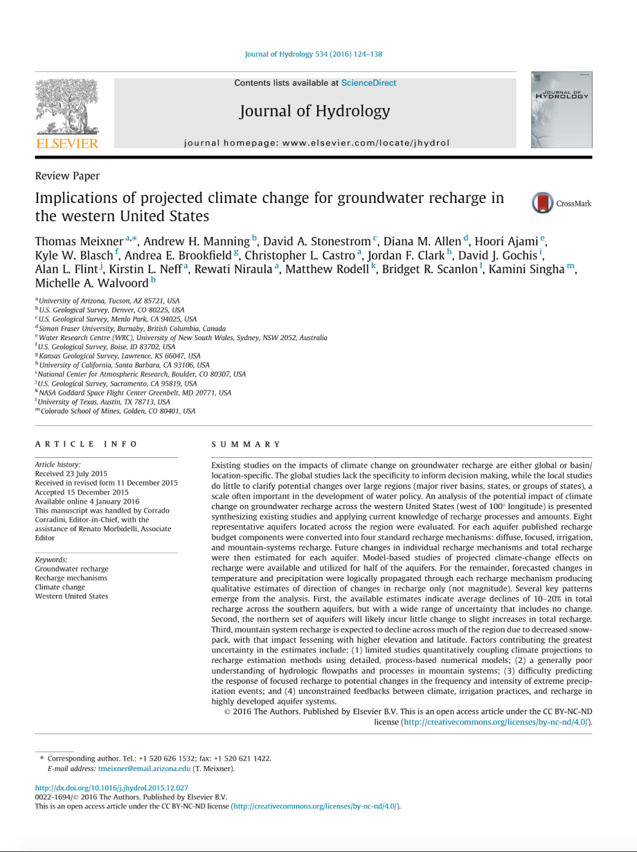 Thumbnail image of document cover: Implications of Projected Climate Change for Groundwater Recharge in the Western United States