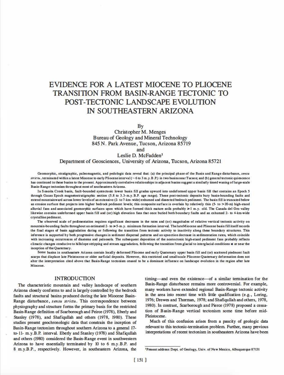 Thumbnail image of document cover: Evidence for the Latest-Miocene to Pliocene Transition from Basin-Range Tectonic to Post-Tectonic Landscape Evolution in Southeastern Arizona