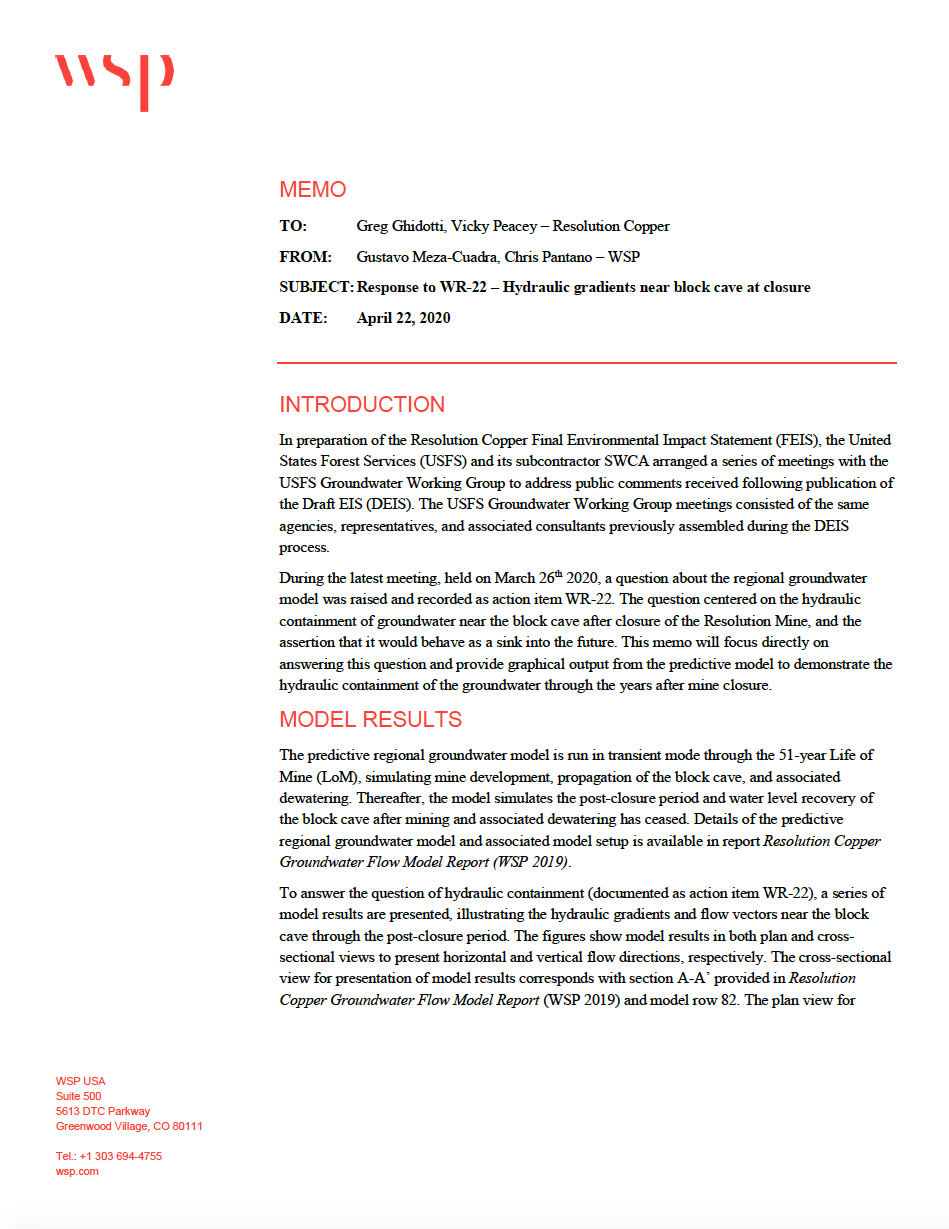 Thumbnail image of document cover: Response to WR-22 - Hydraulic Gradients Near Block Cave at Closure