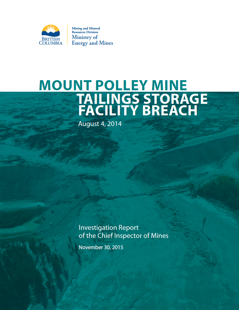 Thumbnail image of document cover: Mount Polley Mine Tailings Storage Facility Breach: August 4, 2014