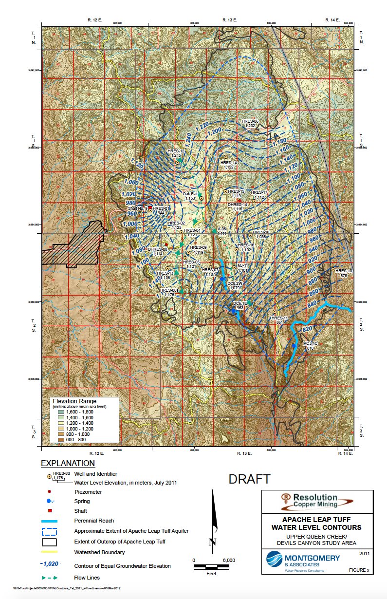 Thumbnail image of document cover: Apache Leap Tuff Water Level Contours Upper Queen Creek/Devils Canyon Study Area (Map)