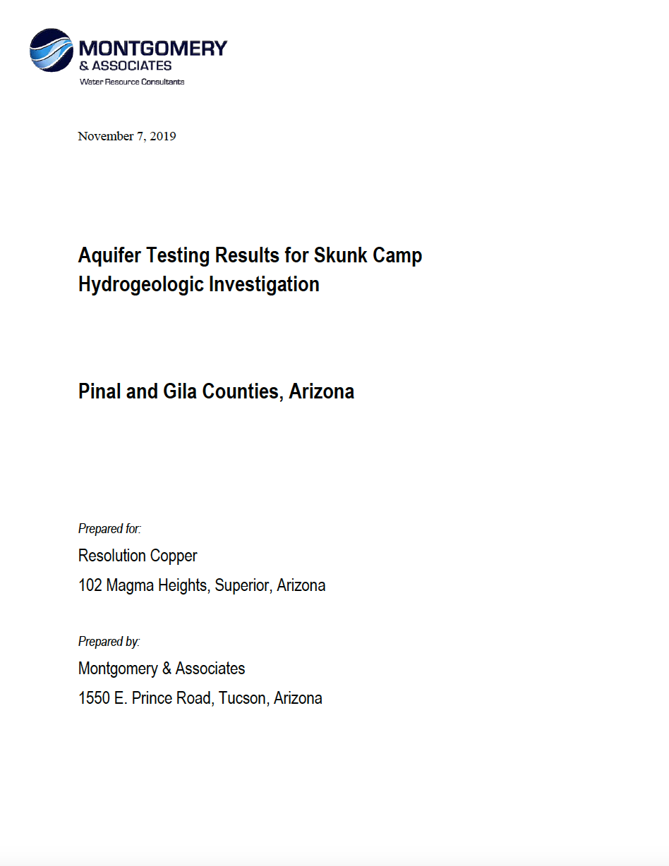 Thumbnail image of document cover: Aquifer Testing Results for Skunk Camp Hydrogeological Investiation, Pinal and Gila Counties, Arizona