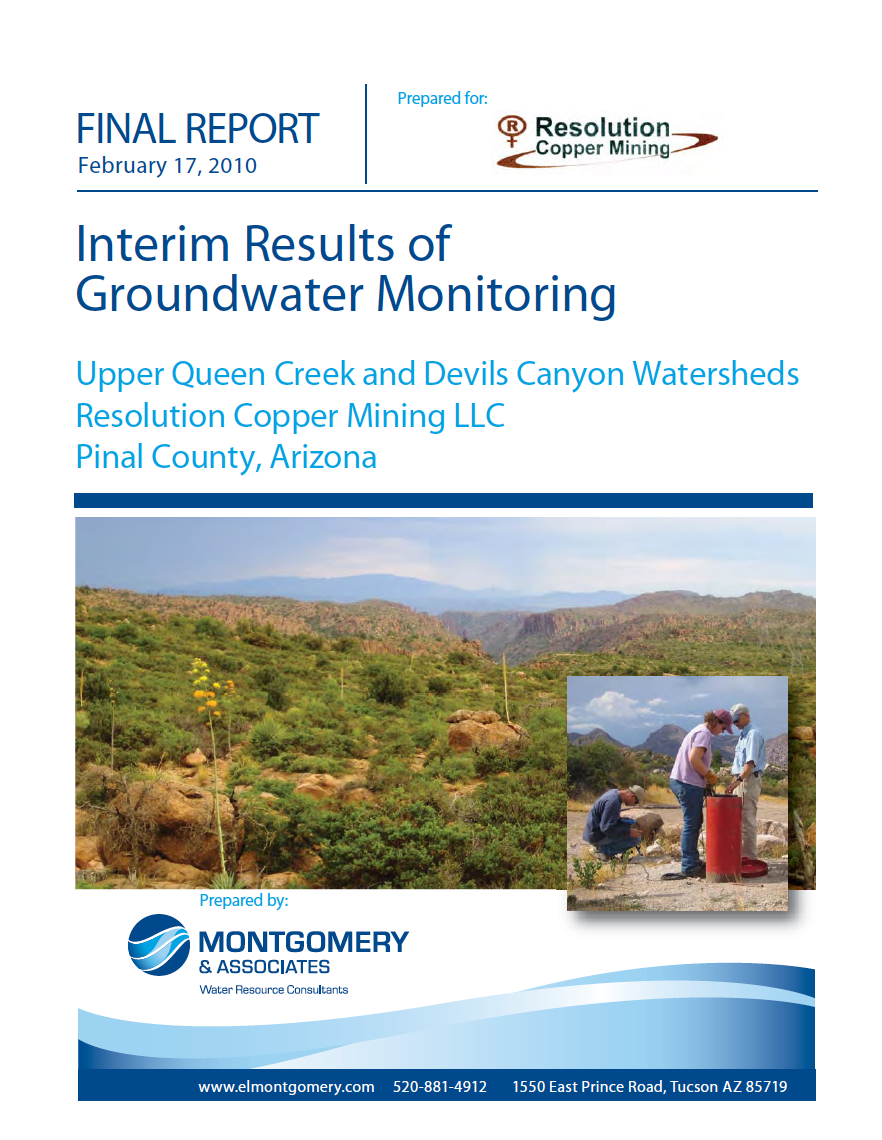 Thumbnail image of document cover: Interim Results of Groundwater Monitoring: Upper Queen Creek and Devils Canyon Watersheds, Resolution Copper Mining LLC, Pinal County, Arizona
