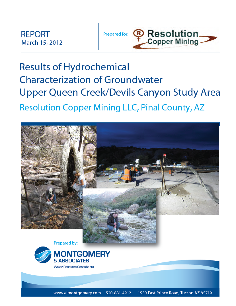 Thumbnail image of document cover: Results of Hydrochemical Characterization of Groundwater Upper Queen Creek/Devils Canyon Study Area: Resolution Copper Mining LLC, Pinal County, AZ