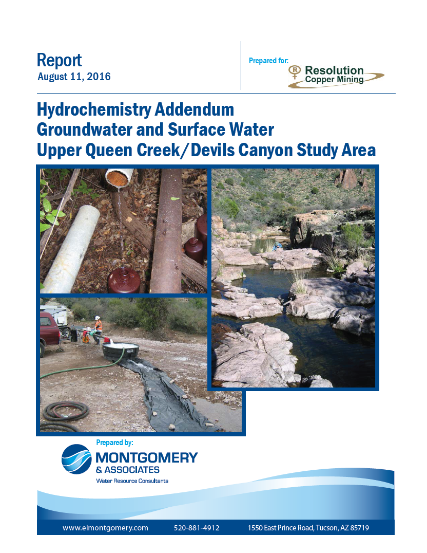 Thumbnail image of document cover: Hydrochemistry Addendum Groundwater and Surface Water Upper Queen Creek/Devils Canyon Study Area