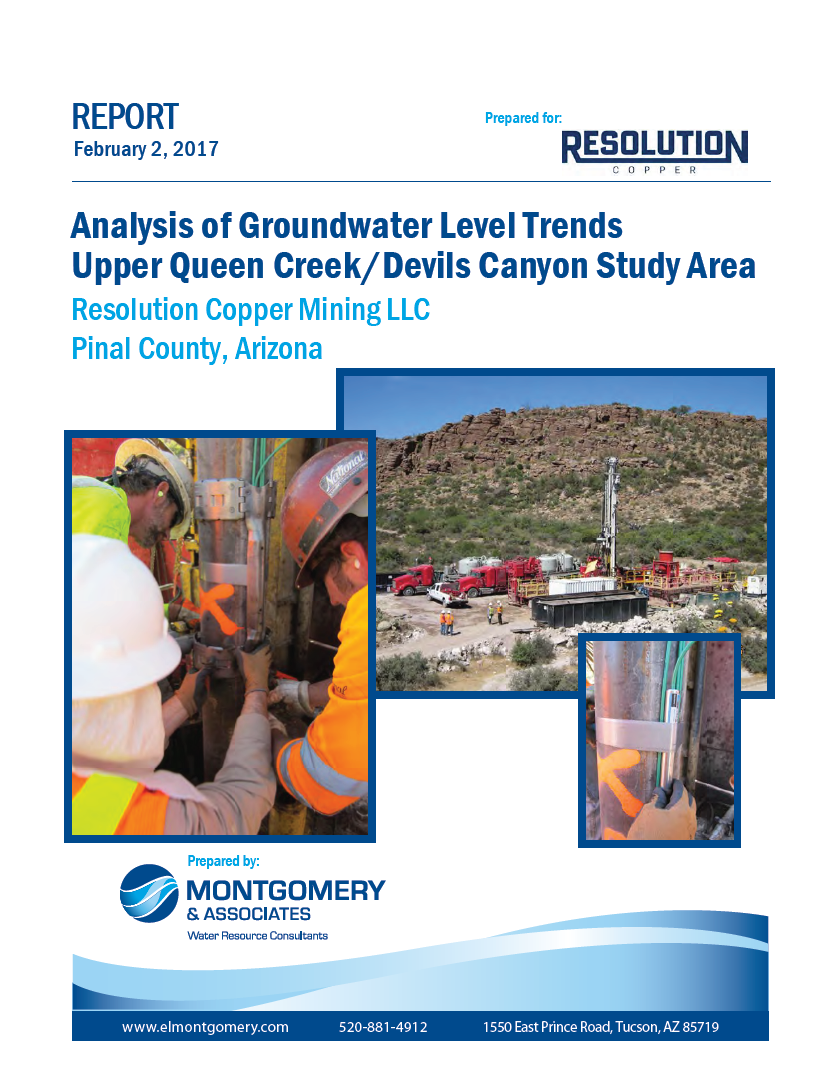 Thumbnail image of document cover: Analysis of Groundwater Level Trends Upper Queen Creek/Devils Canyon Study Area