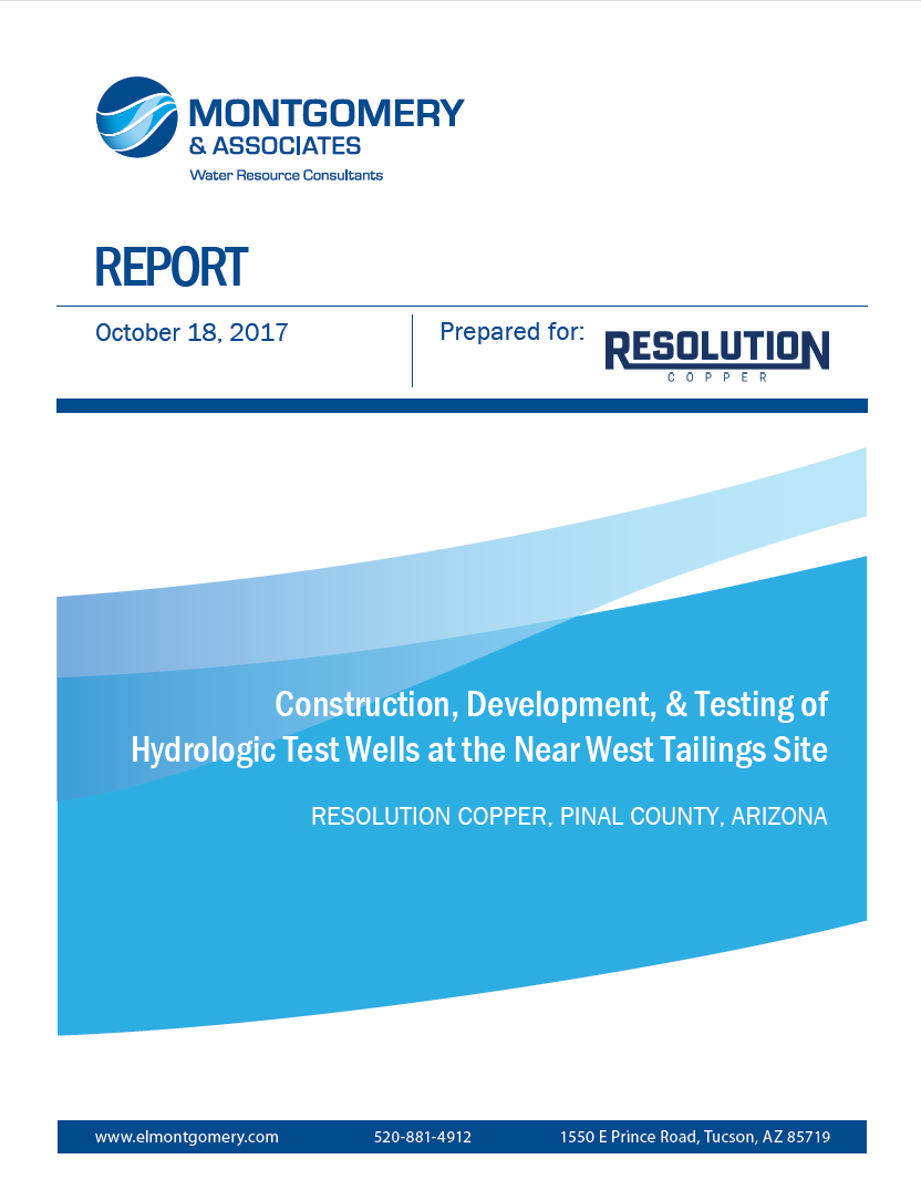 Thumbnail image of document cover: Construction, Development, and Testing of Hydrologic Test Wells at the Near West Tailings Site: Resolution Copper, Pinal County, Arizona