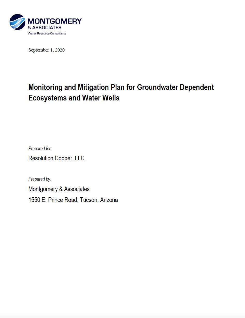 Thumbnail image of document cover: Monitoring and Mitigation Plan for Groundwater Dependent Ecosystems and Water Wells