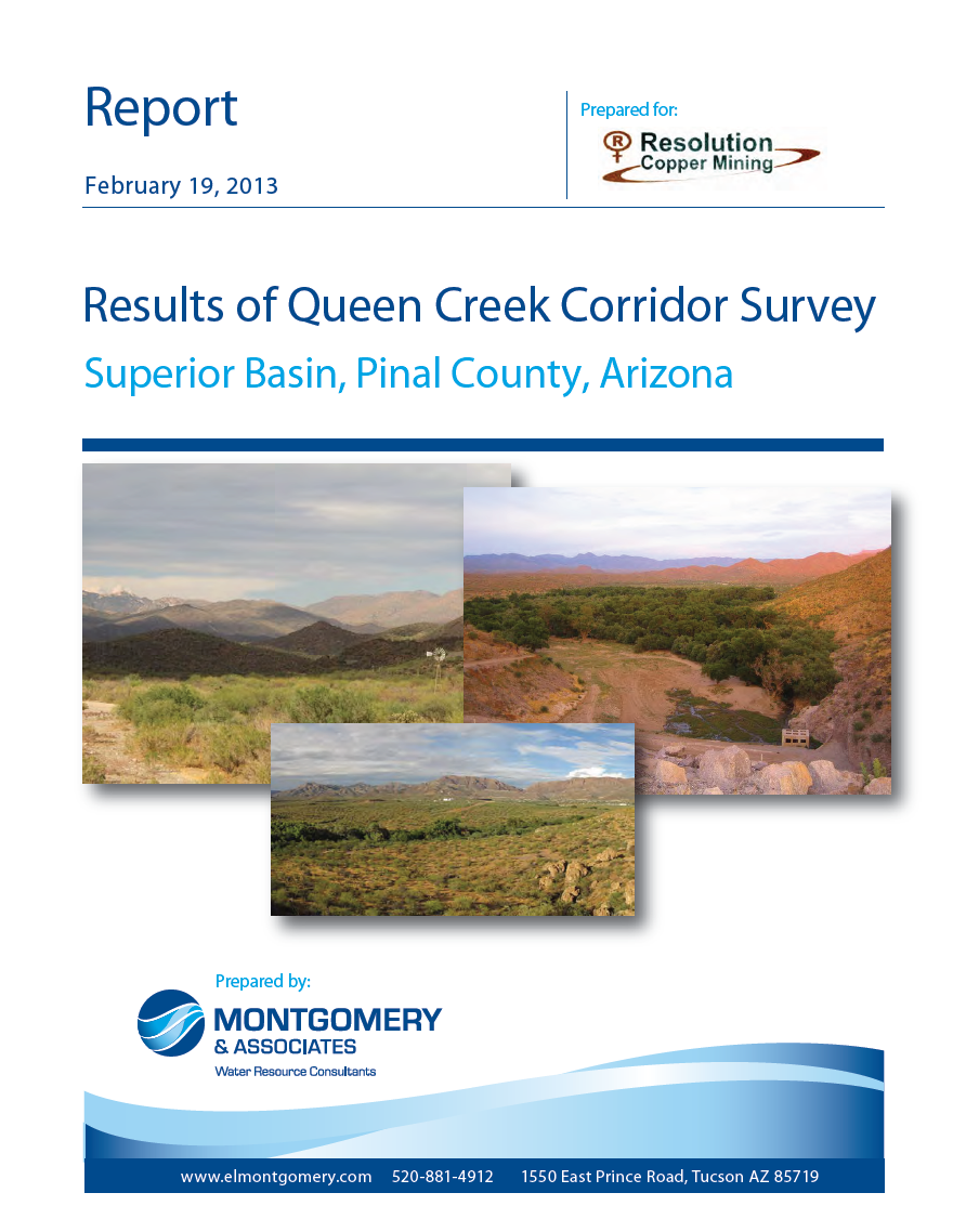 Thumbnail image of document cover: Results of Queen Creek Corridor Survey: Superior Basin, Pinal County, Arizona