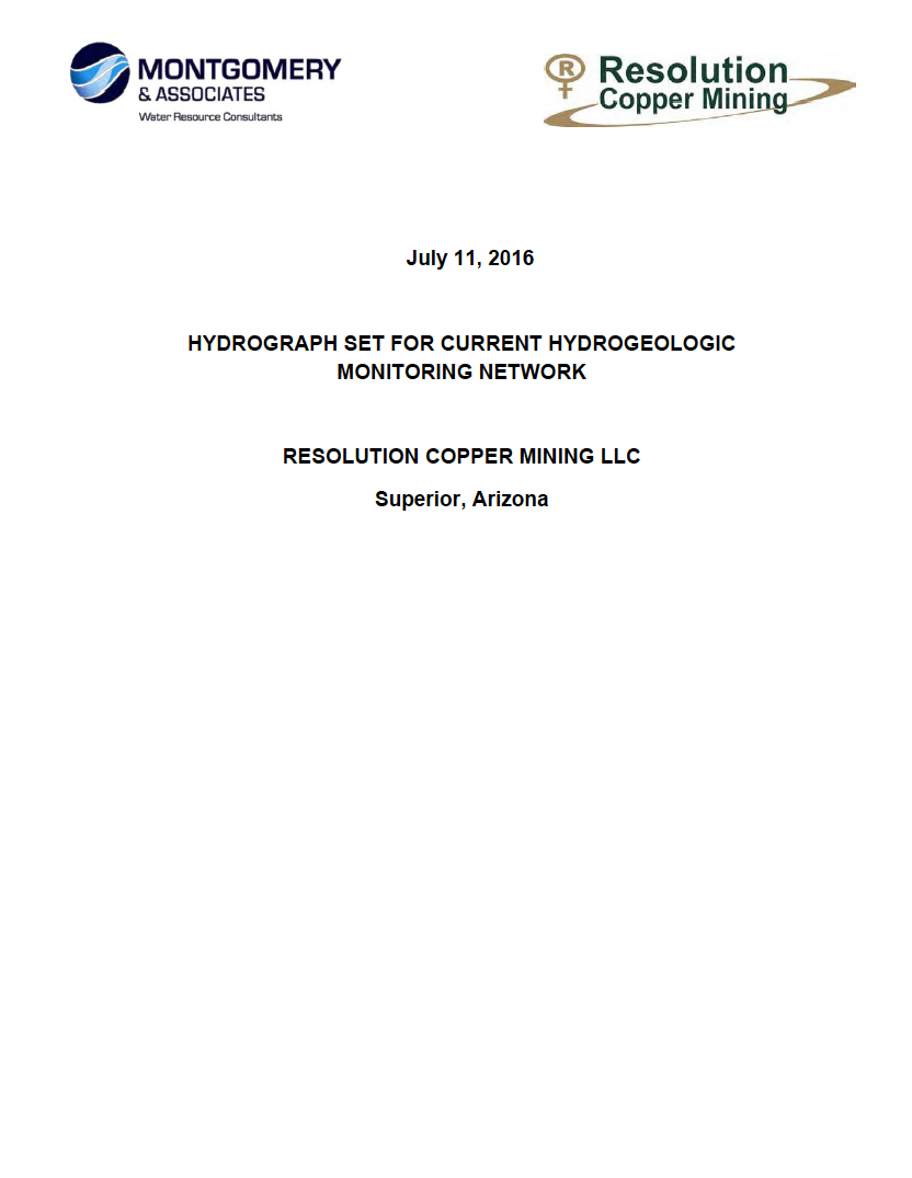 Thumbnail image of document cover: Hydrograph Set for Current Hydrogeologic Monitoring Network, Resolution Copper Mining, LLC, Superior, Arizona