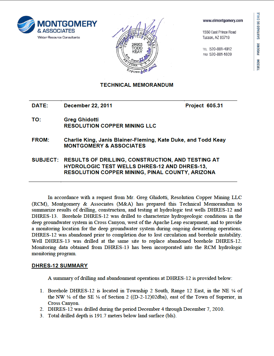 Thumbnail image of document cover: Results of Drilling, Construction, Equipping, and Testing at Hydrologic Test Wells DHRES-12 and DHRES-13