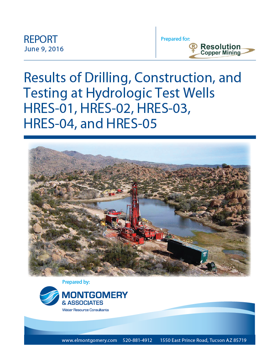 Thumbnail image of document cover: Results of Drilling, Construction, and Testing at Hydrologic Test Wells HRES-01, HRES-02, HRES-03, HRES-04, and HRES-05