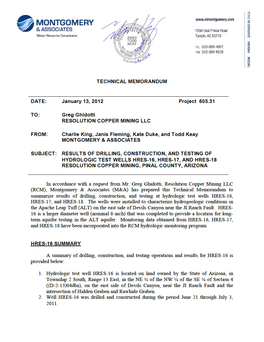 Thumbnail image of document cover: Results of Drilling, Construction, Equipping, and Testing at Hydrologic Test Well HRES-16, HRES-17, and HRES-18