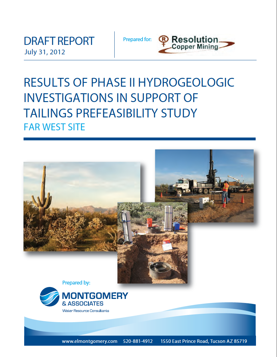 Thumbnail image of document cover: Results of Phase II Hydrogeologic Investigations in Support of Tailings Prefeasibility Study, Far West Site