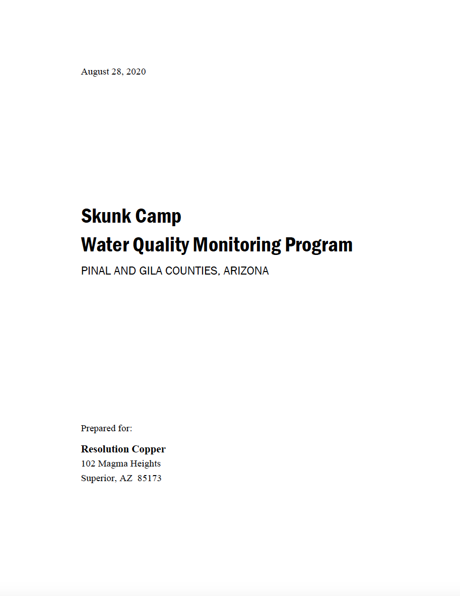 Thumbnail image of document cover: Skunk Camp Water Quality Monitoring Program, Pinal and Gila Counties, Arizona