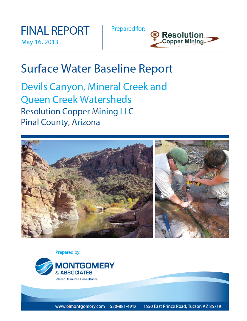 Thumbnail image of document cover: Surface Water Baseline Report: Devils Canyon, Mineral Creek and Queen Creek Watersheds