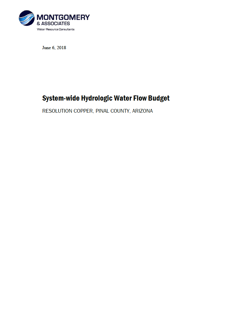 Thumbnail image of document cover: System-wide Hydrologic Water Flow Budget: Resolution Copper, Pinal County, Arizona