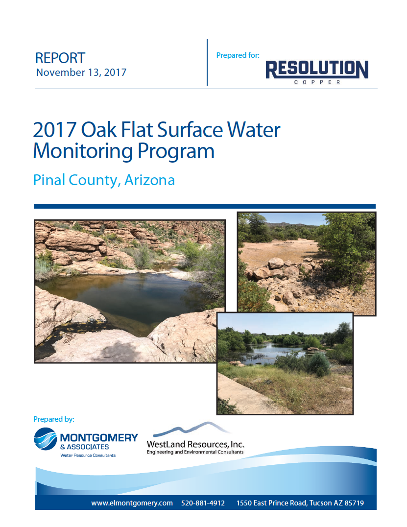 Thumbnail image of document cover: 2017 Oak Flat Surface Water Monitoring Program