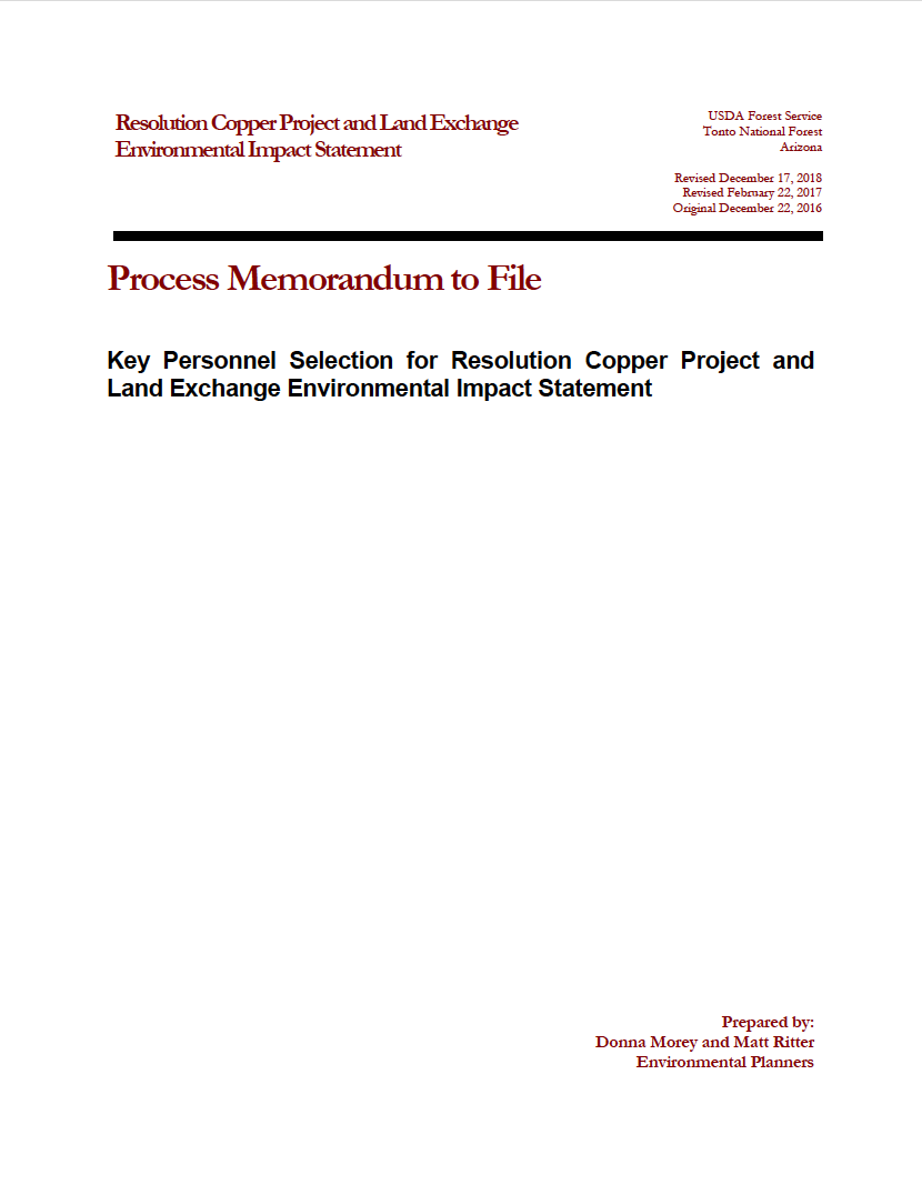 Thumbnail image of document cover: Key Personnel Selection for Resolution Copper Project and Land Exchange Environmental Impact Statement
