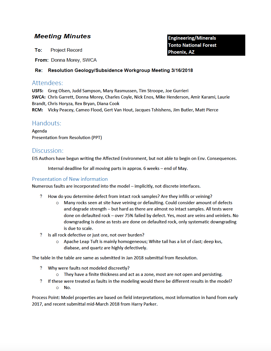 Thumbnail image of document cover: Resolution Geology/Subsidence Workgroup Meeting