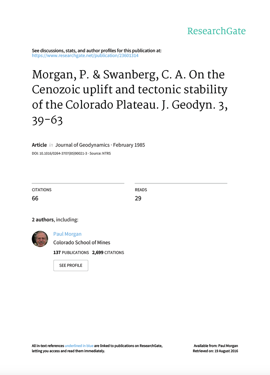 Thumbnail image of document cover: On the Cenozoic Uplift and Tectonic Stability of the Colorado Plateau