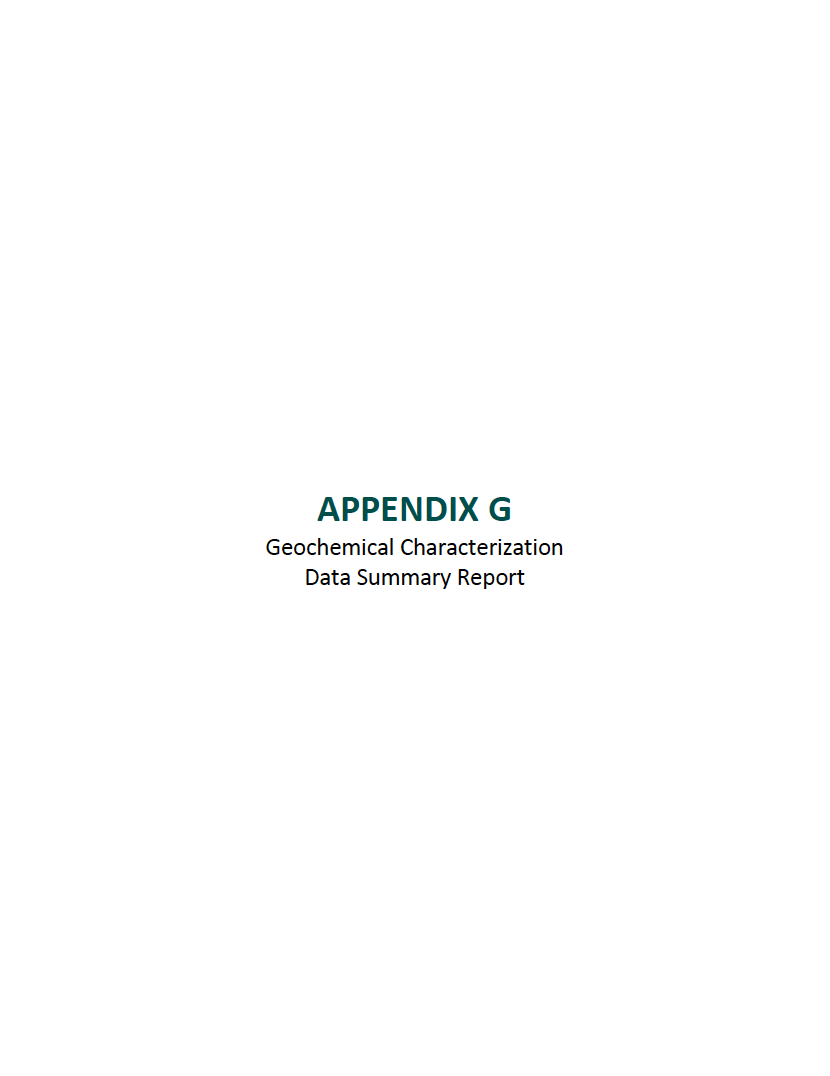 Thumbnail image of document cover: Appendix G: Geochemical Characterization Data Summary Report