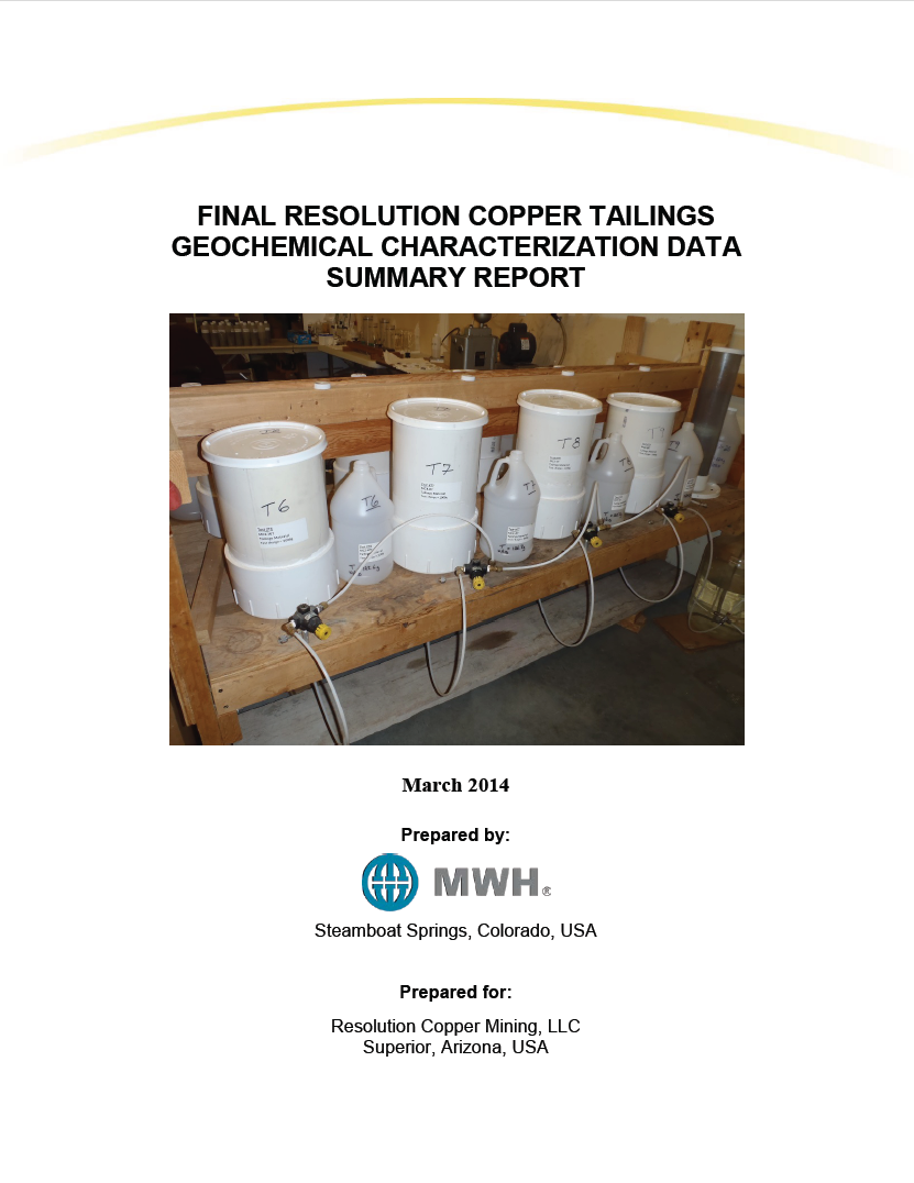 Thumbnail image of document cover: Final Resolution Copper Tailings Geochemical Characterization Data Summary Report