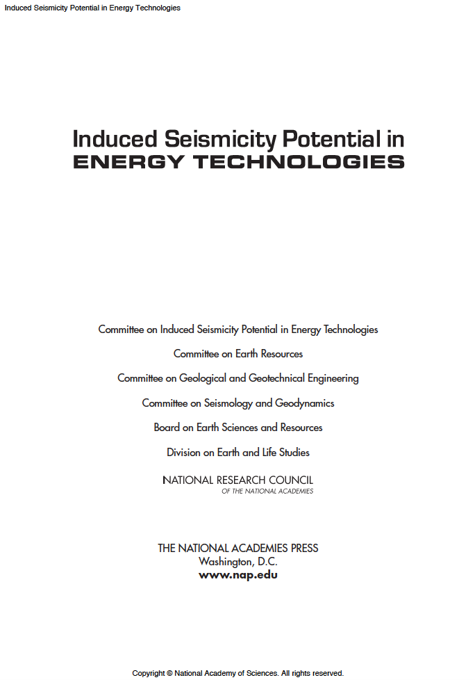 Thumbnail image of document cover: Induced Seismicity Potential in Energy Technologies