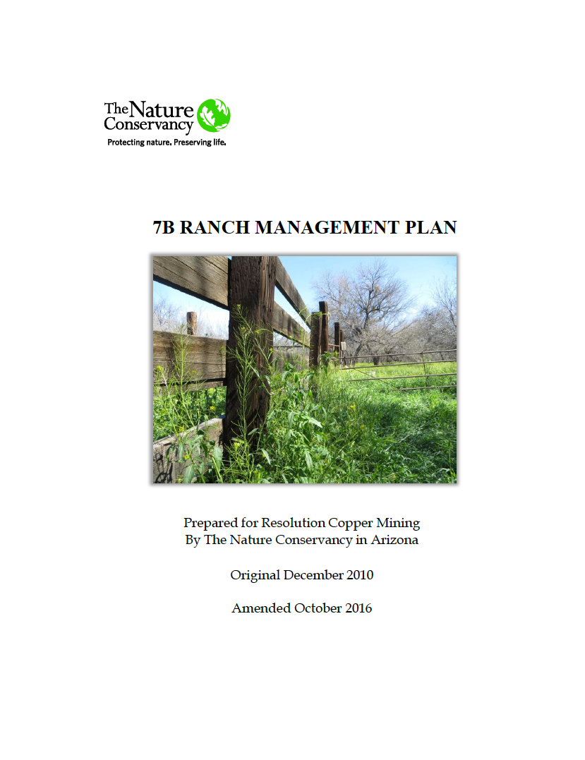 Thumbnail image of document cover: 7B Ranch Management Plan - 2016