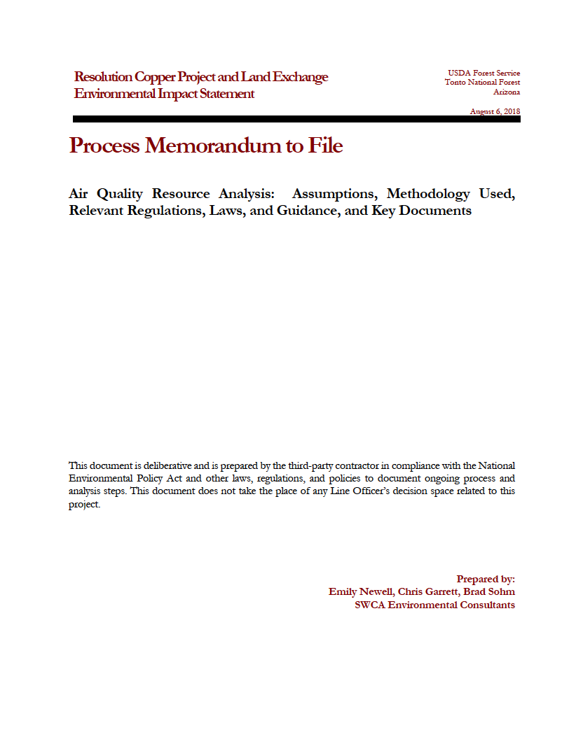 Thumbnail image of document cover: Air Quality Resource Analysis: Assumptions, Methodology Used, Relevant Regulations, Laws, and Guidance, and Key Documents