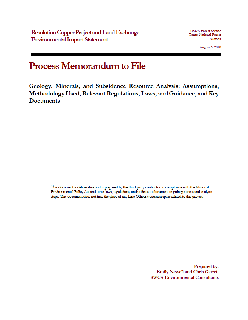 Thumbnail image of document cover: Geology, Minerals, and Subsidence Resource Analysis: Assumptions, Methodology Used, Relevant Regulations, Laws, and Guidance, and Key Documents