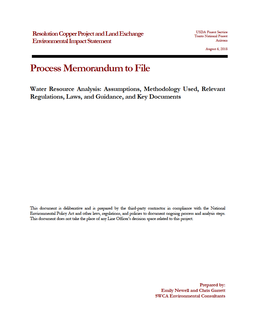 Thumbnail image of document cover: Water Resource Analysis: Assumptions, Methodology Used, Relevant Regulations, Laws, and Guidance, and Key Documents