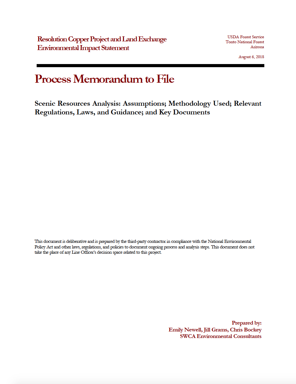 Thumbnail image of document cover: Scenic Resources Analysis: Assumptions, Methodology Used and Relevant Regulations, Laws, and Guidance, and Key Documents