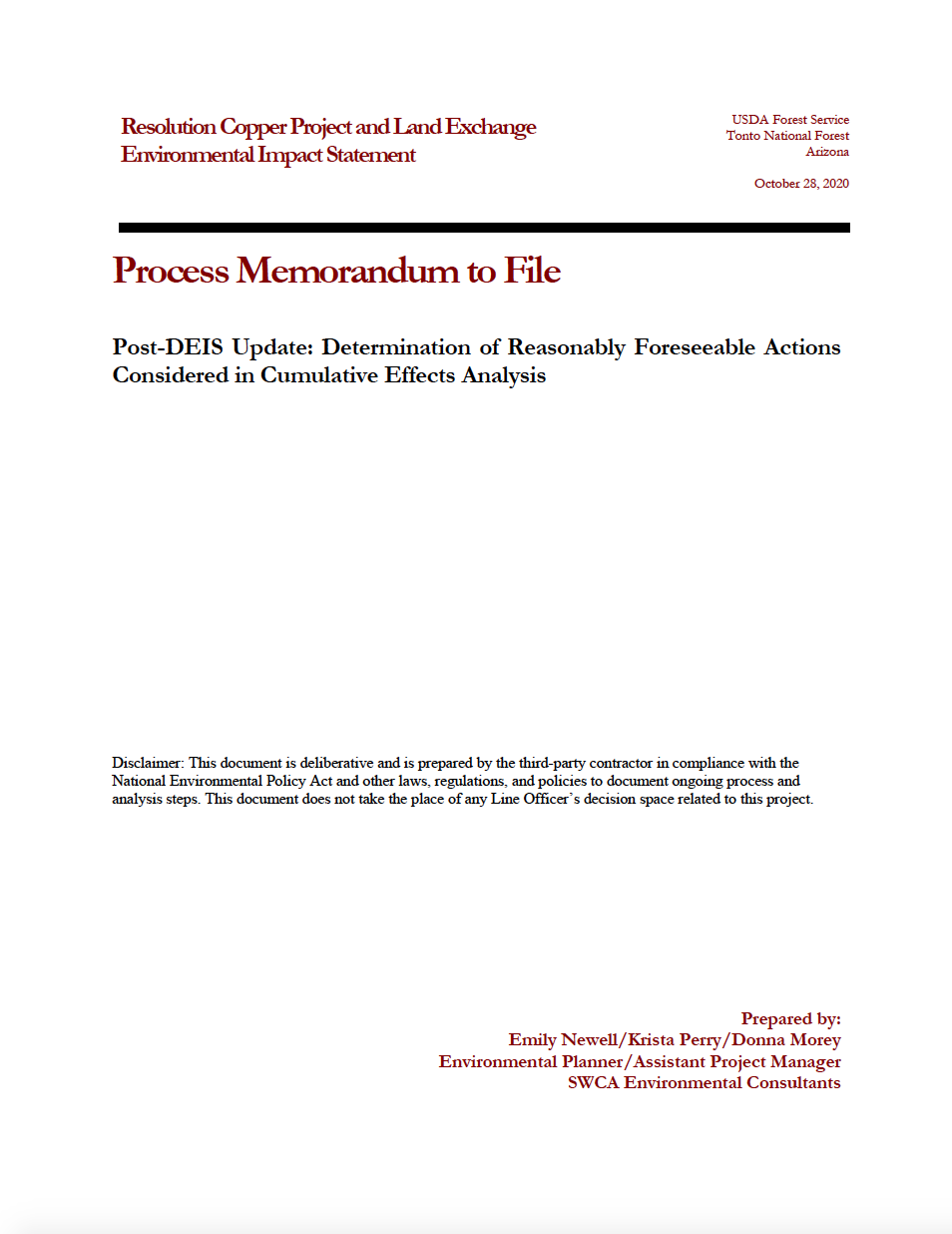 Thumbnail image of document cover: Post-DEIS Update: Determination of Reasonably Foreseeable Actions Considered in Cumulative Effects Analysis