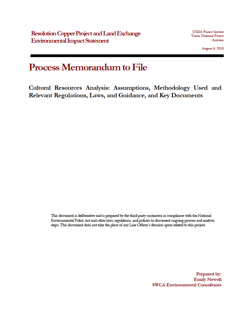 Thumbnail image of document cover: Cultural Resources Analysis: Assumptions, Methodology Used, and Relevant Regulations, Laws, and Guidance, and Key Documents