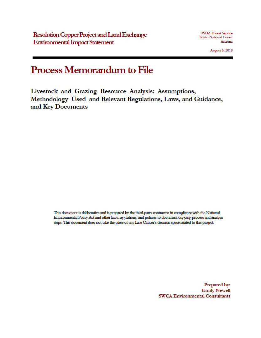 Thumbnail image of document cover: Livestock and Grazing Resource Analysis: Assumptions, Methodology Used and Relevant Regulations, Laws, and Guidance and Key Documents