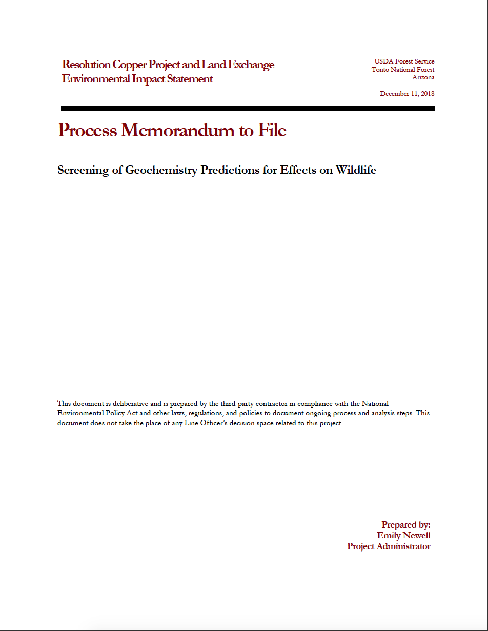 Thumbnail image of document cover: Screening of Geochemistry Predictions for Effects on Wildlife